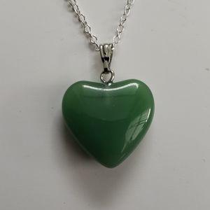 New Gemstone Green Heart Necklace